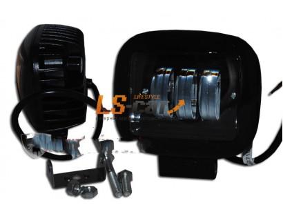 Фонарь светодиодный  30W (C) чёрный+чёрный (Квадратная) 12,5*10*6см, LED-3 (9-30V)