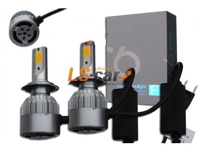 Лампа головного света со светодиодами CREE H8-C6F 36W/3800LM  3000/6000K 12V(со встр, вентилятором) 2функции: белый+желтый свет