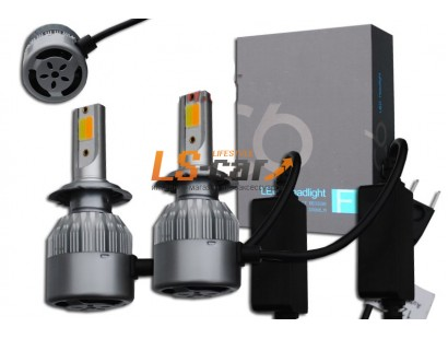 Лампа головного света со светодиодами CREE H4-C6F 36W/3800LM  3000/6000K 12V(со встр, вентилятором) 2функции: белый+желтый свет