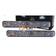 ДНЕВНЫЕ ХОДОВЫЕ ОГНИ DRL-6 LED   1,W/ 12V (2 функции белый+желтий) 170*20*20мм