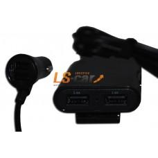 Разветвитель прикуривателя на 2 USB  WF-121 с удлинителем 1,8м на 2 USB (без упаковки)
