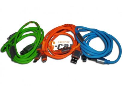 Кабель переходник WF-743 105 см ТРОЙНОЙ для Android Type-C+MINI USB+iPHONE iPAD MINI USB голубой (силиконовый) Тorino