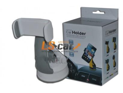 """Держатель для смартфона, навигатора S160A на панель  (раздвижной до 2,8"""", поворотный на 360°) бело-серый"""