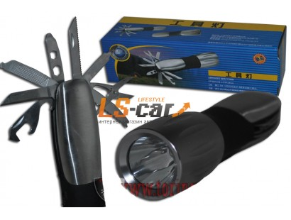 Фонарь светодиодный XP802+мультитул  (8 инструментов) 3хААА