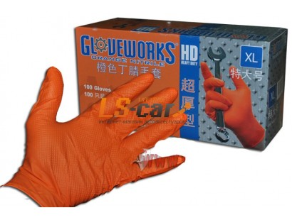 Перчатки AMMEX нитриловые рифленые GWON48100 ORANGE размер XL (комплект 2 шт)