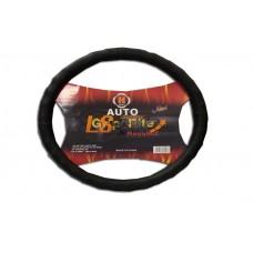 Оплетка на рулевое колесо C-36-2ВК Волна, перфорированная+гладкая  кожа, черный+черный, размер М