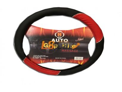 Оплетка на рулевое колесо HL-800BK+RD-XL(черный+красный иск. кожа )