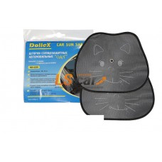 """Шторка боковая на присосках с рисунком  """"Cat"""" черная 38 х 44 см 'Cat' (2 шт) Dollex/SD-229"""