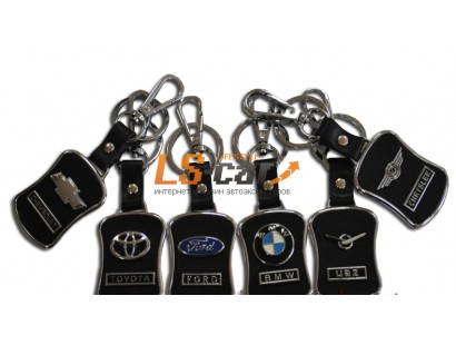 Брелок AE1050 - VOLVO  черная кожа+металл, с карабином