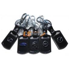 Брелок AA0530 - SUBARU прямоугольный, черная кожа+металл, с карабином