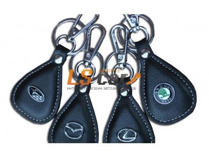 Брелок AL1044 - BMW- черная кожа+металл хром, кольцо с карабином