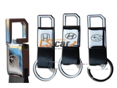 Брелок AA0143 - PEUGEOT черная кожа,хром, кольцо, с карабином на  пружине/AA0143