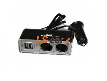 Разветвитель прикуривателя на 2 гнезда+2USB  WF-0030 со шнуром,  черный