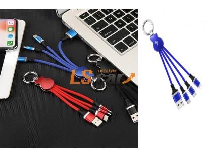 Кабель переходник YSK-2 10 см 3в1 ГИТАРА БРЕЛОК для Android Type-C+MINI USB+iPHONE iPAD MINI USB синий Тorino