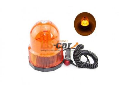 """Маяк проблесковый светодиодный 821-40 LED оранжевый (""""Стробоскоп"""", на магните, в прикур.) DC 12-24V (3  режима работы)"""