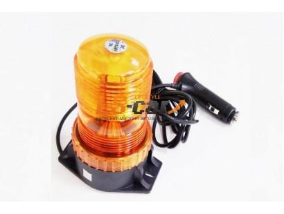 """Маяк проблесковый светодиодный LED-818 MAGET оранжевый (""""Стробоскоп"""", на магните+стационар\крепление, в прикур.) DC 12-24V (6  режимов работы)"""