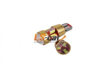 Светодиодная лампа для а/м T10B-27SMD-3014 с линзой 12-24V