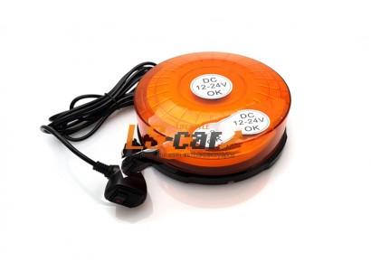 """Маяк проблесковый светодиодный AS-911 оранжевый (""""Стробоскоп"""", на магните, в прикур.) DC 12-24V (26 автоматических режимов работы) d-180mm. h-60mm"""