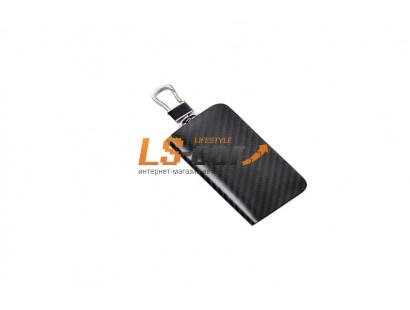 Ключница на молнии для а\м ключей KL826BB кожа карбон+черный , карабин