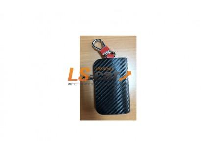 Ключница на молнии для а\м ключей KL826BR кожа карбон+красный, карабин