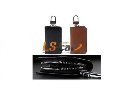 Ключница на молнии для а\м ключей KL814BL кожа, черный , карабин