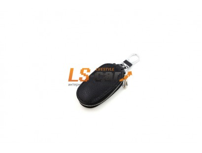 Ключница на молнии для а\м ключей KL812 кожа, черный , карабин