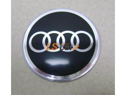 """Наклейка """"Audi"""" (диаметр 80мм.) на автомобильные колпаки, диски, компл. 4шт."""