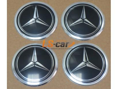 """Наклейка """"Mercedes"""" (диаметр 60мм.) на автомобильные колпаки, диски, компл. 4шт."""