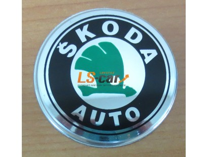 """Наклейка """"Skoda"""" (диаметр 70мм.) на автомобильные колпаки, диски компл. 4шт."""