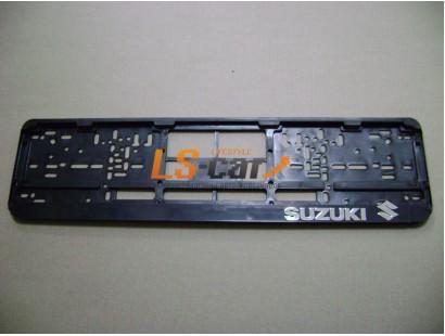 """Рамка для номерного знака пластик (черный), с гравировкой  """"Suzuki"""", 1шт"""