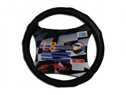Оплетка на рулевое колесо HJ-S1009BK-L (черный  иск. кожа в блистере) 10 NEW