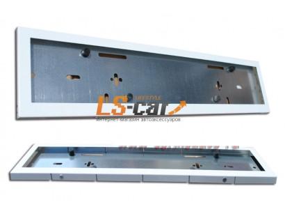 Рамка для ГОС. номерного знака AF-001 нерж,сталь/ с прорезью(гибкая) цвет белый