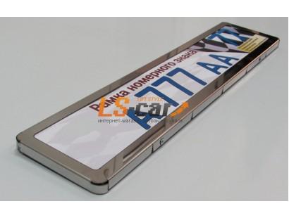Рамка для номерного знака AF-002 цвет хром (гибкая, закруглённые углы)
