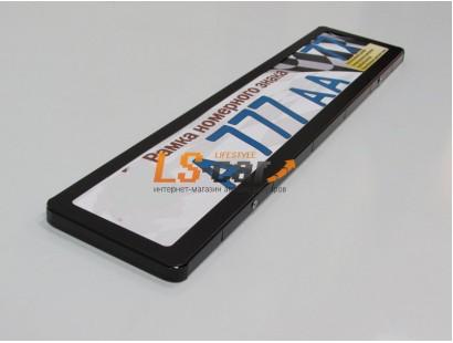 Рамка для номерного знака AF-002 цвет черный (гибкая, с закругленными углами)