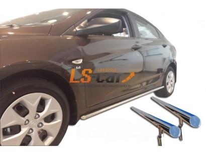 Повторители штатных порогов Hyundai Solaris Sedan 2014(2шт)