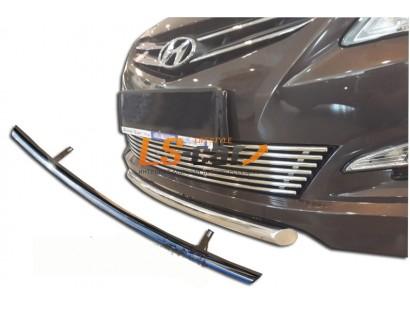 Защита передняя (скосы) Hyundai Solaris Sedan 2014