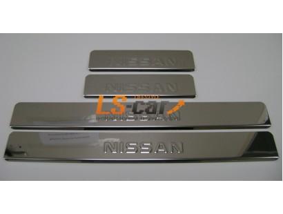 Накладки на пороги Nissan X-Trail 2 2007-2014 (штамп)