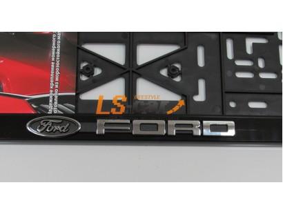 """Рамка для номерного знака пластик рельеф (стандарт) """"Ford"""" (112/1-STD-FD)"""