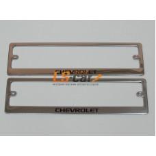 Рамка для ГОС. номерного знака, хром нержавеющая сталь (ком-т 2 шт) CHEVROLETшелкография краска