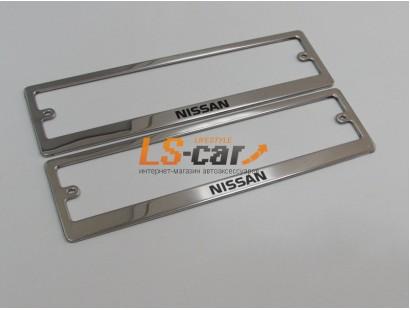 Рамки для номерного знака, хром нержавеющая сталь (ком-т 2 шт) Nissan шелкография краска