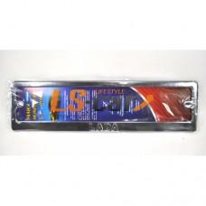 Рамка для ГОС. номерного знака, хром нержавеющая сталь (ком-т 2 шт)LADA штампованная надпись