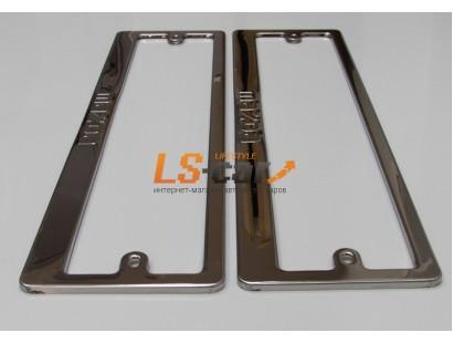 Рамки для номерного знака, хром нержавеющая сталь (ком-т 2 шт) Mazda штампованная надпись