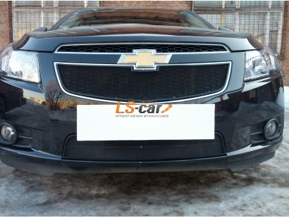 Защита радиатора Chevrolet Cruze 2009-2013 black верх