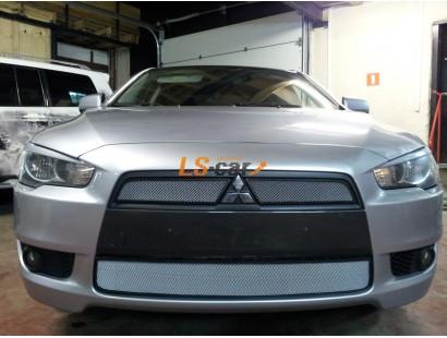 Защита радиатора Mitsubishi Lancer X 2007-2011 (2 шт.) chrome