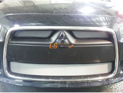 Защита радиатора Mitsubishi Lancer X 2012-(2 шт.)  chrome