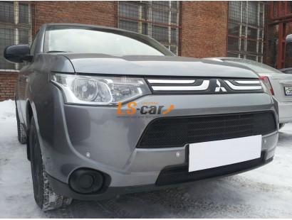 Защита радиатора Mitsubishi Outlander III  2014- (2 шт) black