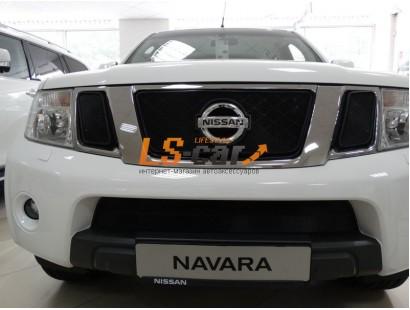 Защита радиатора Nissan Pathfinder (NAVARA) 2011- black низ