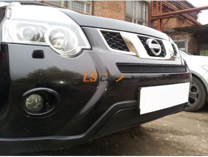 Защита радиатора Nissan X-Trail 2011- black верх