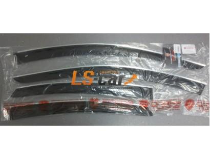 Дефлекторы окон накладные Hyundai Sonata 7 LF 2014-2019 седан Cobra с хромированным молдингом