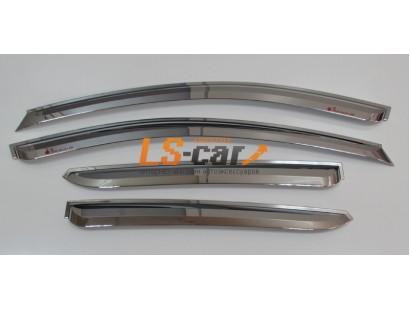 Дефлекторы окон накладные Hyundai IX35 (2010-) Корея хром пластик